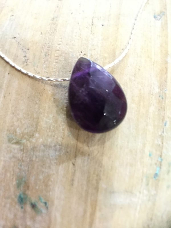 Indian Rose Own Brand Silver Amethyst Healing Crystal Necklace