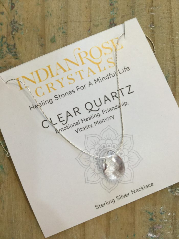 Indian Rose Own Brand Silver Clear Quartz Healing Crystal Necklace