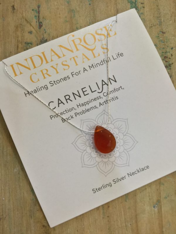 Indian Rose Own Brand Silver Carnelian Healing Crystal Necklace
