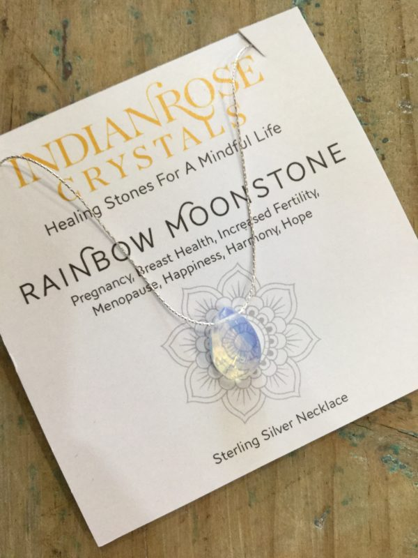 Indian Rose Own Brand Sterling Silver Rainbow Moonstone Healing Crystal Necklace