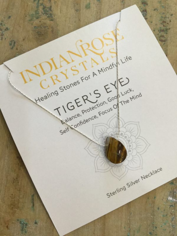 Indian Rose Own Brand Sterling Silver Tigers Eye Healing Crystal Necklace