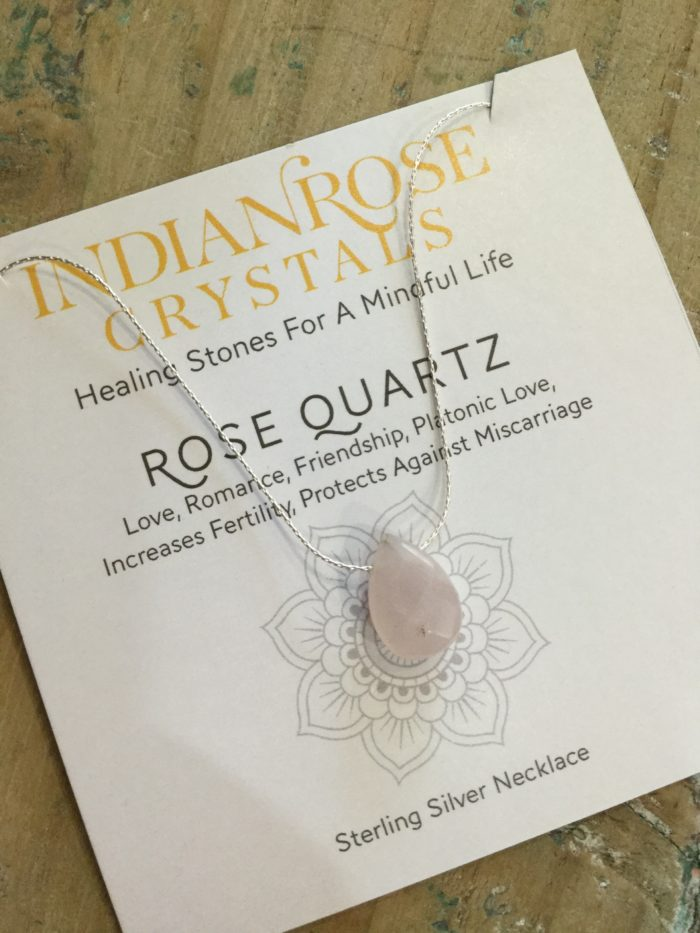 Indian Rose Own Brand Sterling Silver Rose Quartz Healing Crystal Necklace