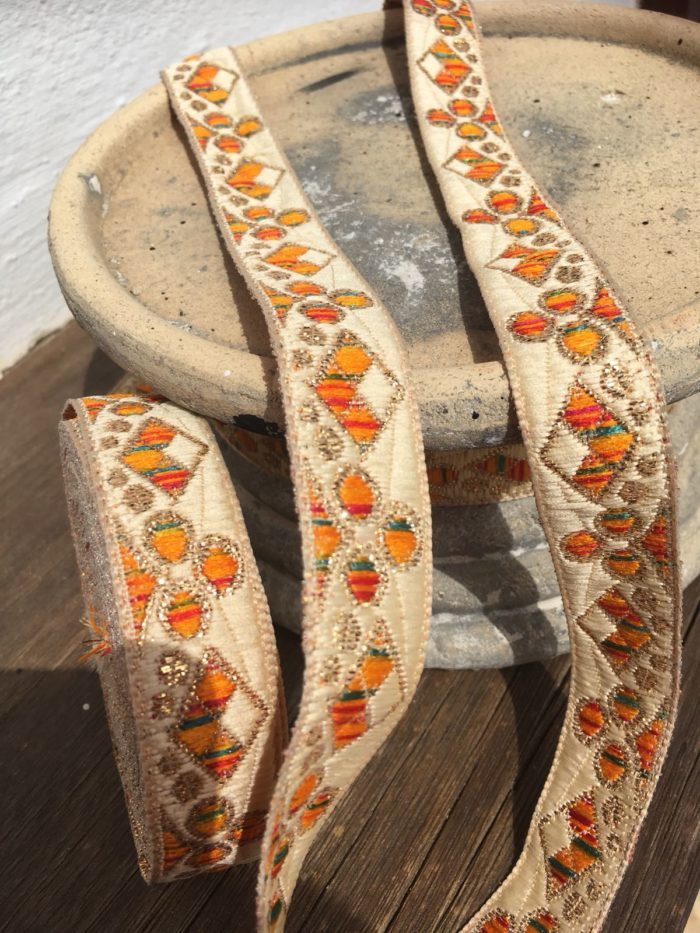 Bohemian Embroidered Trimmings Made in India. Red and Orange
