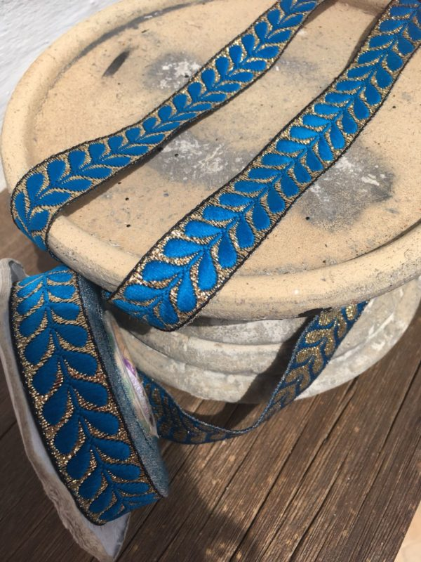 Bohemian Embroidered Trimmings Made in India. Gold and Blue