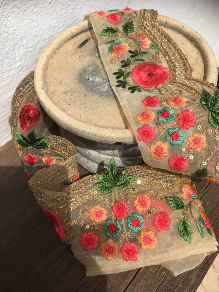 Bohemian Embroidered Trimmings Made in India. Gold, Green, Orange & Pink