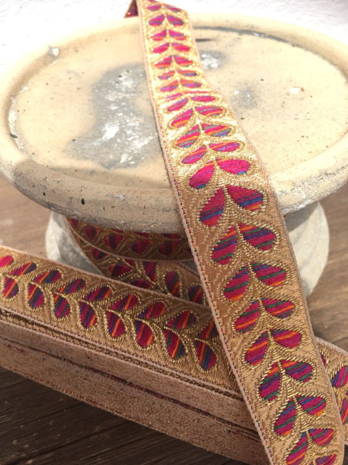 Bohemian Embroidered Trimmings Made in India. Gold and Pink