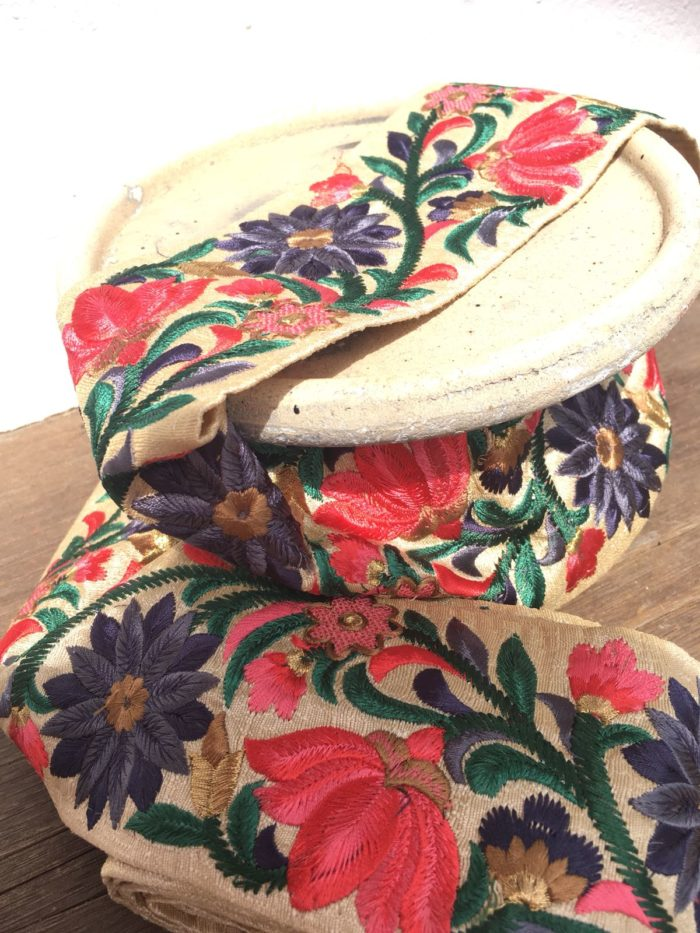 Bohemian Embroidered Trimmings Made in India. Gold, Green, Purple & Pink