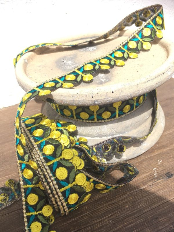 Bohemian Embroidered Trimmings Made in India. Yellow, Green & Pink