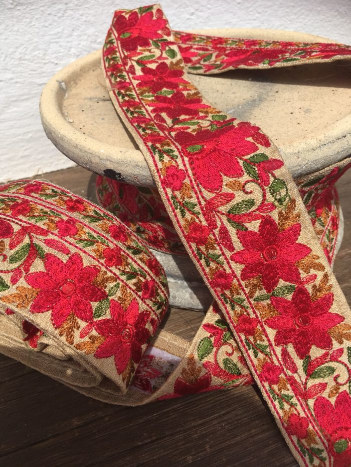 Bohemian Embroidered Trimmings Made in India. Gold, Green & Pink