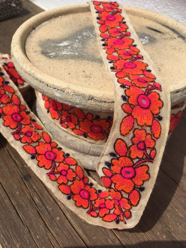 Bohemian Embroidered Trimmings Made in India. Orange and Pink