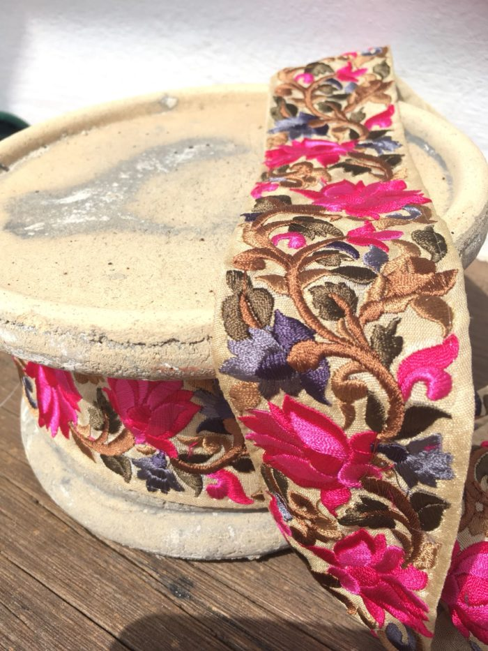 Bohemian Embroidered Trimmings Made in India. Bronze, Pink & Purple