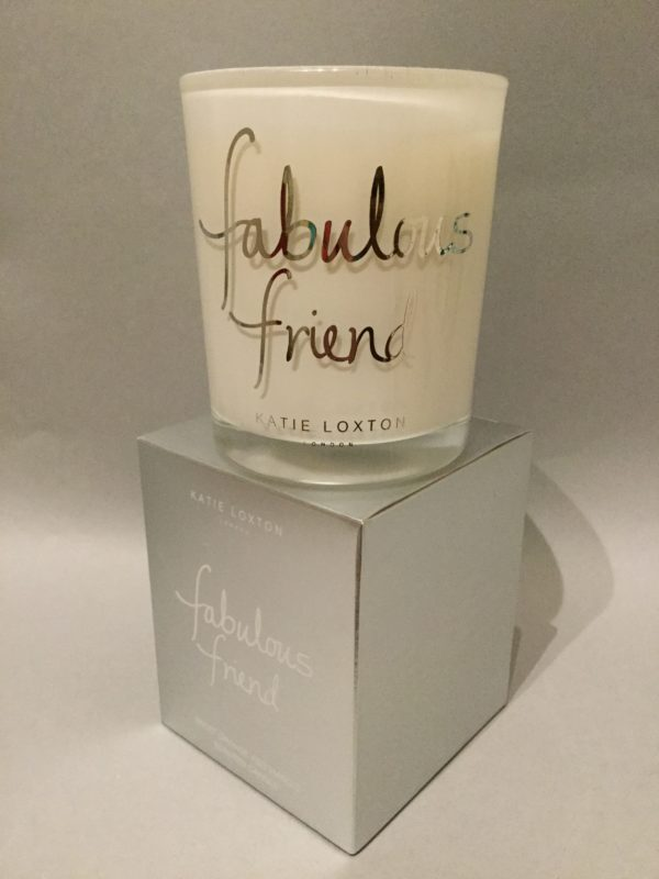 Katie Loxton Candle Collection: Fabulous Friend Design: White Candle in Silver Box