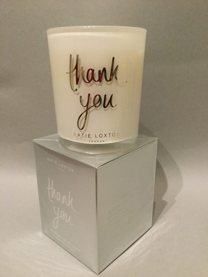 Katie Loxton Candle Collection: Thank You Design: White Candle in Silver Box