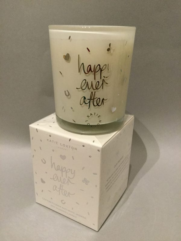Katie Loxton Candle Collection: 'Happy Ever After' Design: White Candle in Silver Box