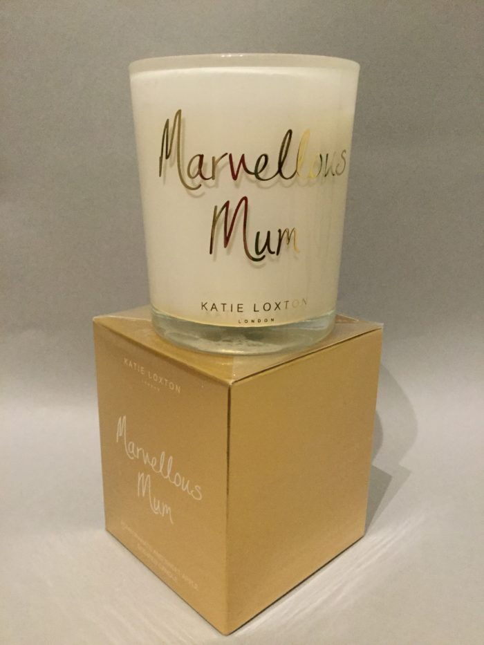 Katie Loxton Candle Collection: 'Marvellous Mum' Design: White Candle in Gold Box