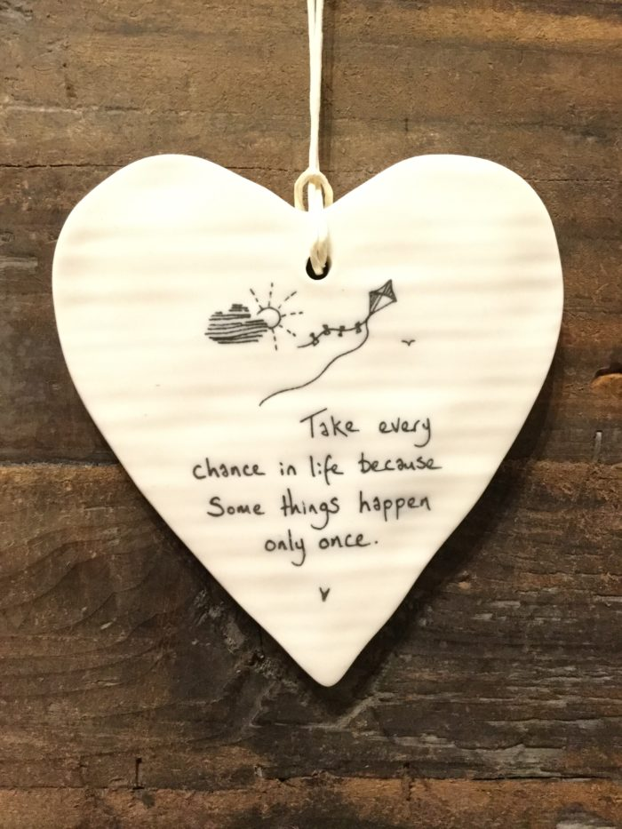 East Of India: White Porcelain Hanging Heart Sign with Black Writing. Saying: Take Every Chance In Life. Kite Image