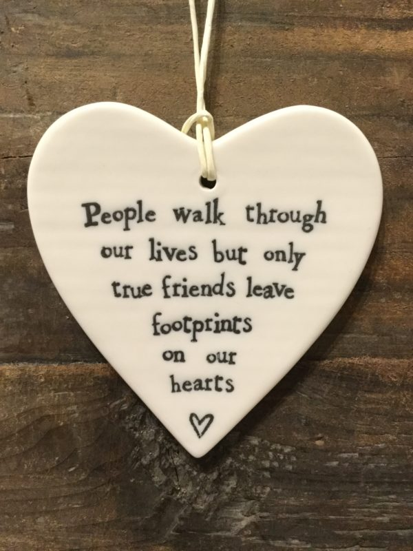 East Of India: White Porcelain Hanging Heart Sign with Black Writing. Saying: People Walk