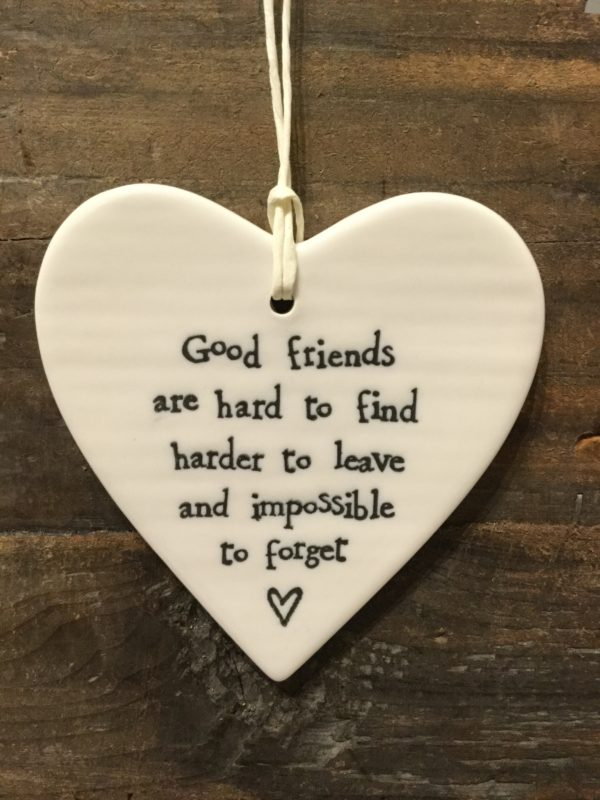East Of India: White Porcelain Hanging Heart Sign with Black Writing. Saying: Good Friends