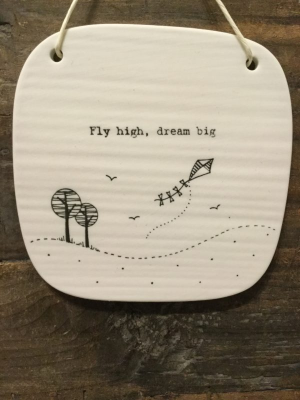 East Of India: Square White Porcelain Sign with Black Writing. Saying: Fly High. Kite Design