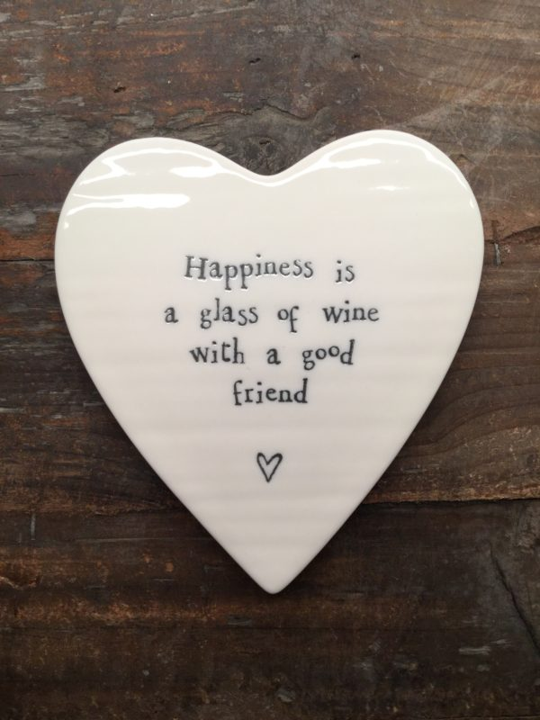 East Of India: White Porcelain Heart Coaster with Black Writing. Saying: Happiness is a Glass of Wine