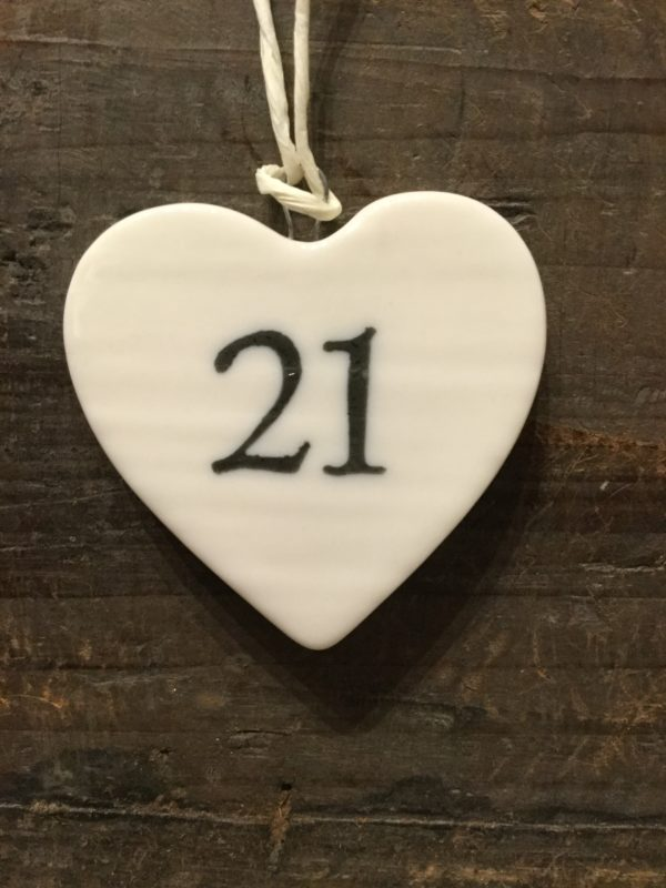 East Of India: Small White Porcelain Hanging Heart with Birthday Number in Black Writing: 21
