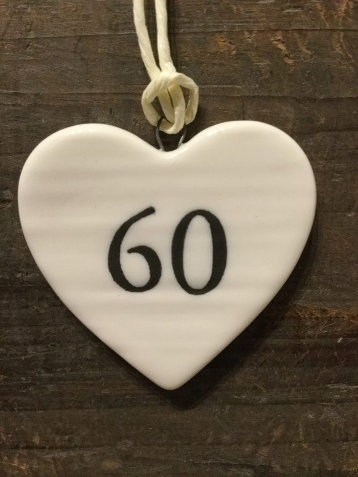 East Of India: Small White Porcelain Hanging Heart with Birthday Number in Black Writing: 60
