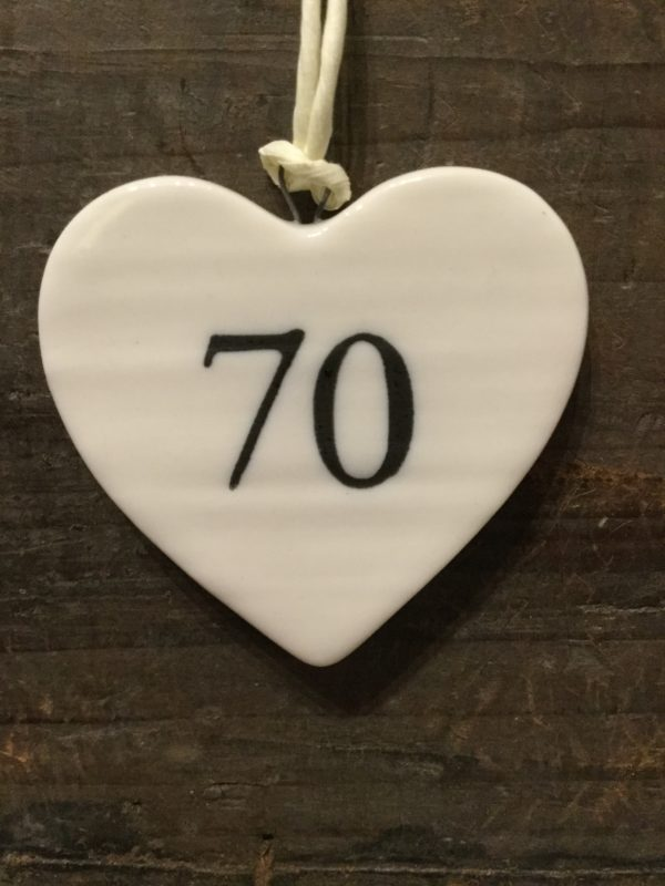 East Of India: Small White Porcelain Hanging Heart with Birthday Number in Black Writing: 70