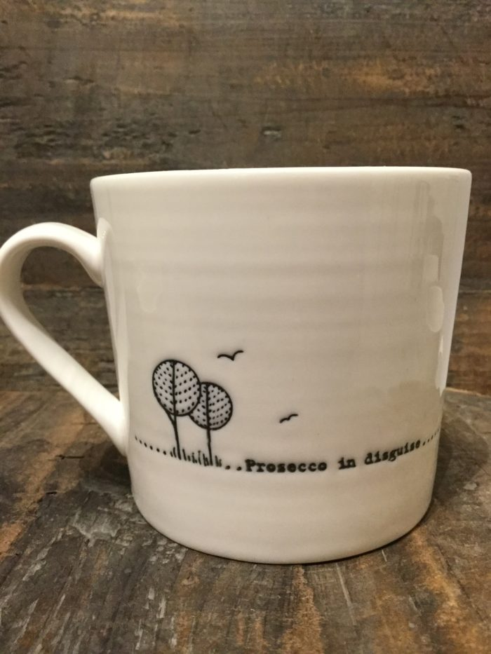 East Of India: White Porcelain Wobbly Mug. Saying: Prosecco In Disguise