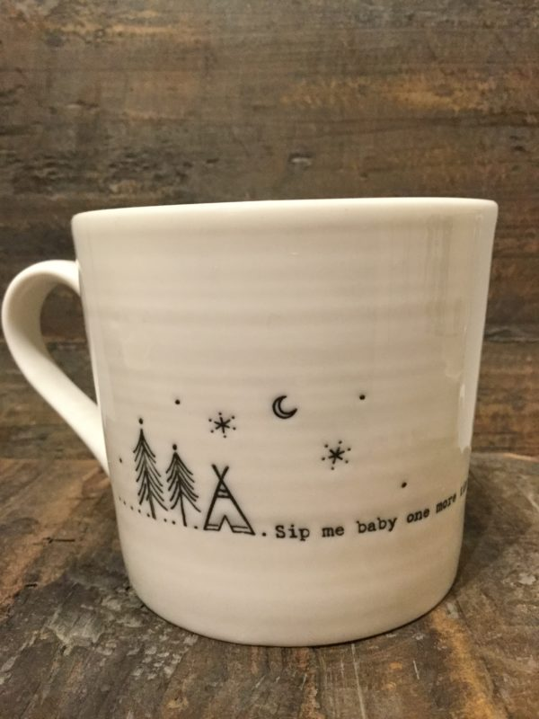 East Of India: White Porcelain Wobbly Mug. Saying: Sip Me Baby One More Time