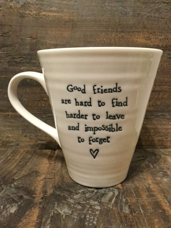 East Of India: White Porcelain Mug. Saying: Good Friends Are Hard To Find