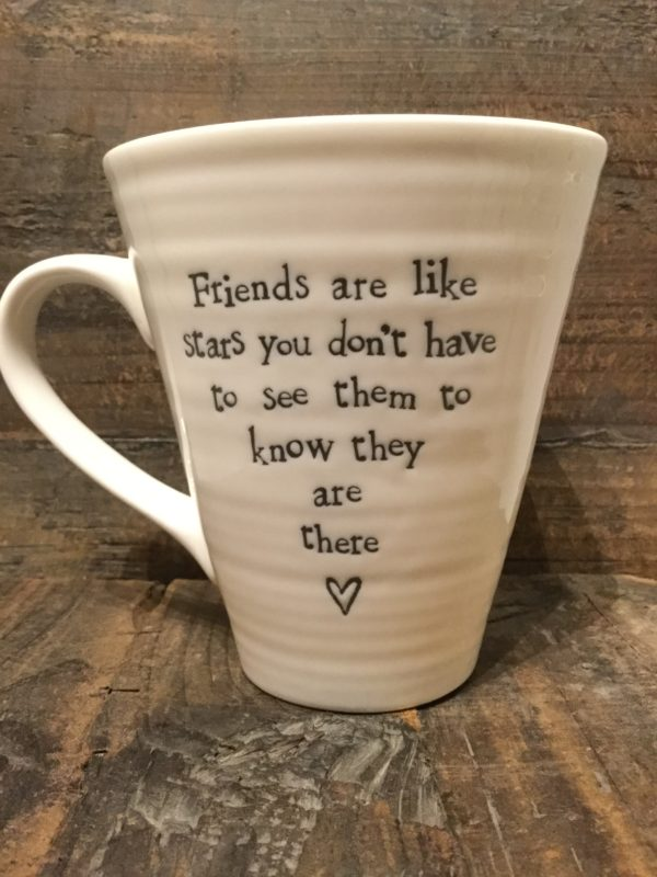 East Of India: White Porcelain Mug. Saying: Friends Are Like Stars