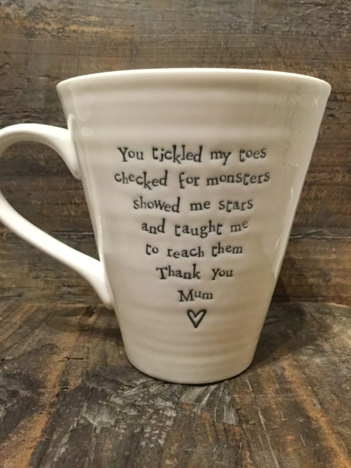 East Of India: White Porcelain Mug. Saying: Mum