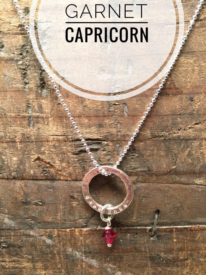 Sterling Silver Marlene Hounam Engraved Necklace Charm & Chain. Capricorn: Hanging Garnet Charm