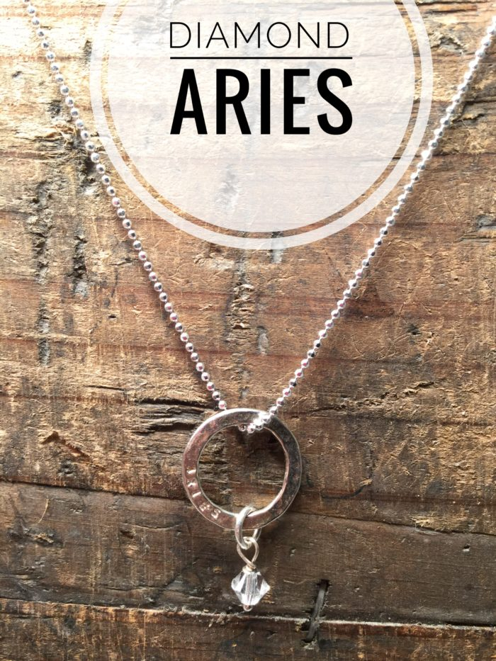 Sterling Silver Marlene Hounam Engraved Necklace Charm & Chain. Aries: Hanging Diamond Charm