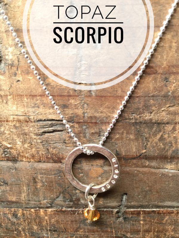 Sterling Silver Marlene Hounam Engraved Necklace Charm & Chain. Scorpio: Hanging Topaz Charm