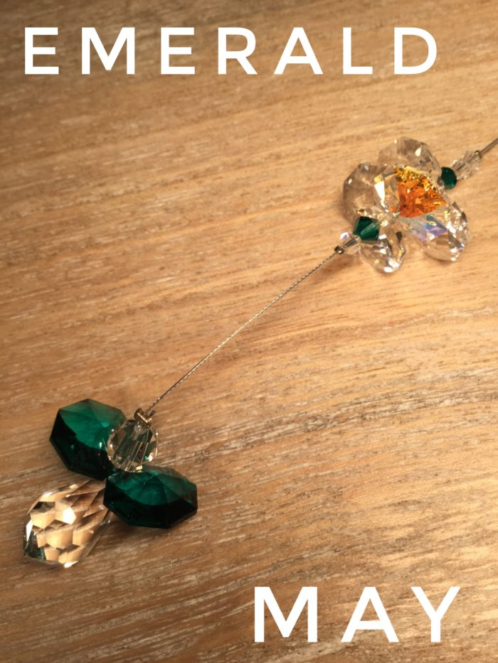Hanging Crystal Guardian Angel: Emerald May