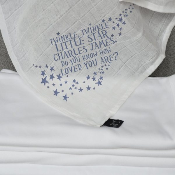 Jola Personalised Muslin Square. Twinkle Twinkle Little Star with Name. Blue