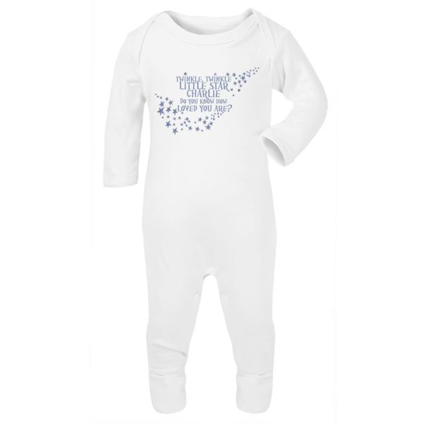 Jola Personalised Baby Grow. Blue Twinkle Twinkle Little Star