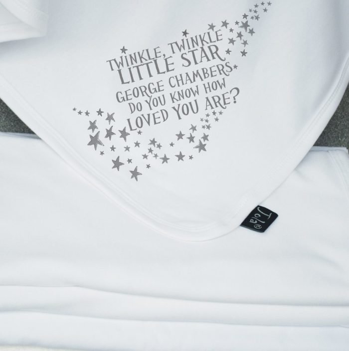 Hola Personalised Blanket. Grey Twinkle Twinkle Little Star with name.