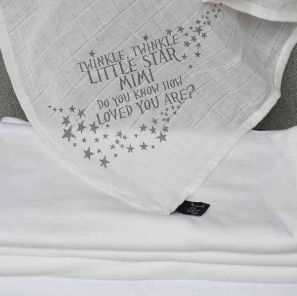 Jola Personalised Muslin Square. Twinkle Twinkle Little Star with Name. Grey