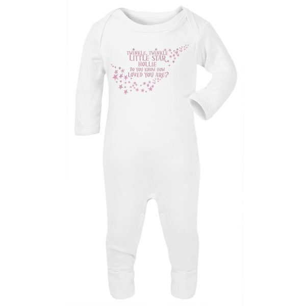 Jola Personalised Baby Grow. Pink. Twinkle Twinkle Little Star