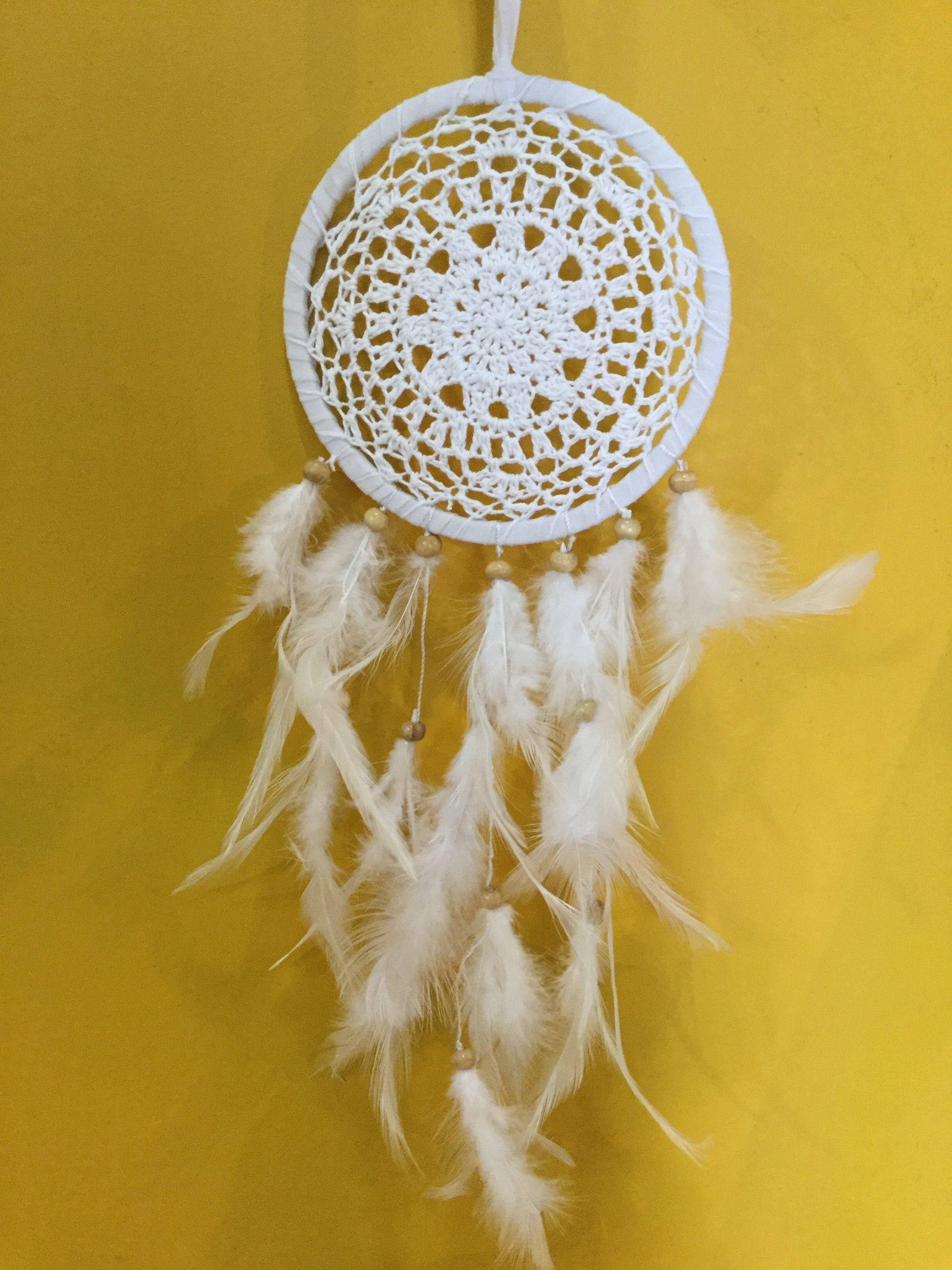 Crochet White Dream Catcher Indian Rose