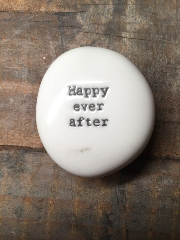 East Of India Small White Porcelain Pebble with Black Type Engraved. Saying: Happy Ever After