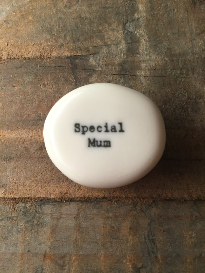 East Of India Small White Porcelain Pebble with Black Type Engraved. Saying: Special Mum