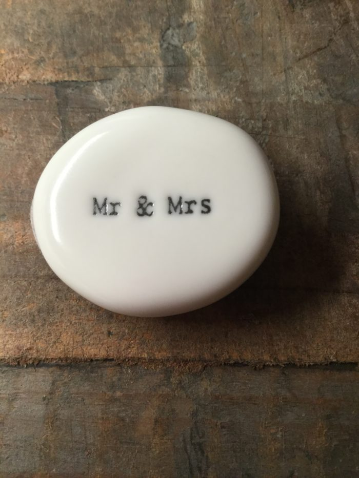 East Of India Small White Porcelain Pebble with Black Type Engraved. Saying: Mr & Mrs