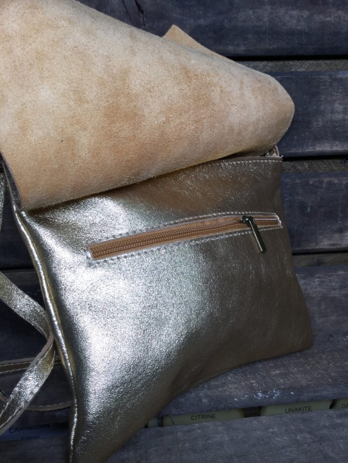 Shiny Shimmery Silver Leather Bag with Long Shoulder Strap. Zip Under Fold Over Top
