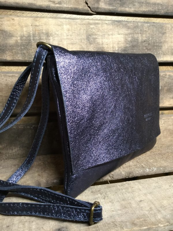 Shiny Shimmery Navy Leather Bag with Long Shoulder Strap