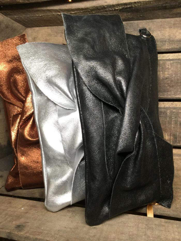 Metallic Leather Clutch with Large Crossover Bow on Front. Silver, Black & Bronze