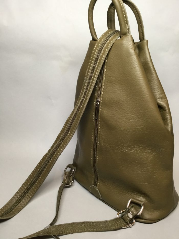 Olive Green Small Rucksack. Double Zip Strap and Handle on Top.