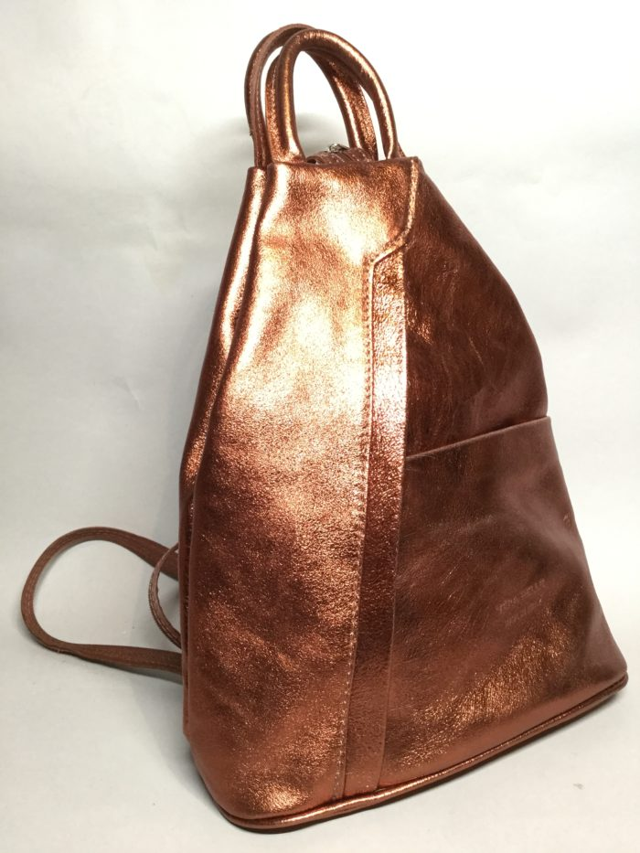 Bronze Small Rucksack. Double Zip Strap and Handle on Top.